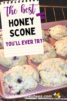 Easy and delicious - this honey scone with blueberries is almost too good to eat. Yes, you can bake your own scones at home and freeze them to enjoy later. #carolinahoneybees