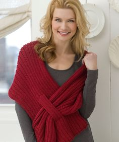 Ribbed Slit Shawl Knitting Pattern  This shawl has the added feature of a slit that helps keep this shawl in place as you wear it.  Red Heart Free Pattern - no membership required.