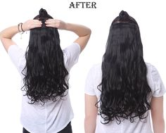 Before and after OneDor One Piece hair extensions