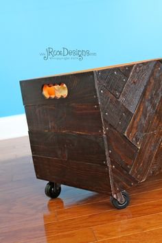 DIY herringbone toy box tutorial