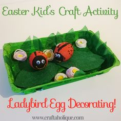 Ladybird Easter Egg Decorating Easter Egg Craft for Kids – Ladybird Egg Decorating – Craftaholique www. Plastic Easter Eggs, Easter Crafts For Kids, Craft Activities For Kids, Easter Ideas, Craft Ideas, Easter Egg Competition Ideas, Easter Egg Designs, Egg Decorating, Easter Bonnets