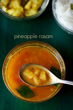 pineapple rasam recipe with step by step photos - spicy, tangy and lightly sweet rasam made with pineapple, lentils and spices. rasam is a spicy tangy soup made with tamarind and spices. this pineapple rasam is a Spicy Recipes, Veg Recipes, Gourmet Recipes, Vegetarian Recipes, Cooking Recipes, Cooking Tips, Recipies, Indian Fish Recipes, Sambhar Recipe