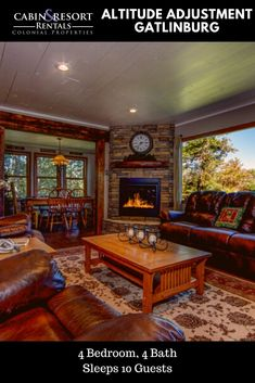 Views of downtown Gatlinburg are found at Altitude Adjustment! This spacious Gatlinburg cabin has 2 master suites, hot tub, mountain views and more!