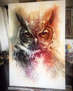 owl Acryl and Oil painting by Benjeffery [933 1161] 2015