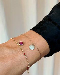 Handmade in 14k rolled gold with sparkling ruby gemstones. Garnet Bracelet, Ruby Gemstone, Hand Wrap, Charmed, Gemstones, Sterling Silver, Chain, Bracelets, Gold