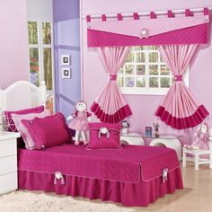Charming Curtain Inspiration For Children's Rooms Pink Bedrooms, Bedroom Sets, Girls Bedroom, Dream Bedroom, Curtain Inspiration, Bed Cover Design, Designer Bed Sheets, Diy Barbie Furniture, Beautiful Curtains