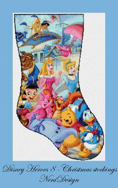 Disney Stockings, Disney Christmas Stockings, Cross Stitch Christmas Stockings, Cross Stitch Stocking, Christmas Stocking Pattern, Xmas Stockings, Christmas Cross, Christmas Cookies, Cross Stitch Patterns Free Disney