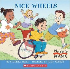 Nice Wheels, by  Gwendolyn Hooks. (Children's Press, 2005). The classmates of a new boy at school find that, although he is in a wheelchair, he can do what they do.