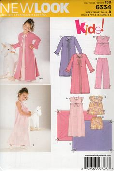 New Look 6334 Kids Sewing Pattern Free Us Ship Girl's Robe Nightgown PJ's Pajamas Babydoll Top Pants Size 3 4 5 6 7 8 Out of Print by LanetzLiving on Etsy