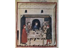 How the Tudors invented breakfast This 14th‑century miniature shows men enjoying a glass of red wine. Alcohol features prominently in medieval and Tudor accounts of breakfast. (Copyright AKG Images)