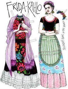 bonequinha de papel frida kahlo
