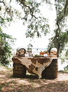 >>>Pandora Jewelry OFF! >>>Visit>> Rustic chic wedding cocktail hour bar idea - two wine barrels cowhide table runner Kelli Boyd Photography Fashion trends Fashion designers Casual Outfits Street Styles Trendy Wedding, Unique Weddings, Dream Wedding, Tropical Weddings, Cowgirl Wedding, Wedding Rustic, Western Wedding Ideas, Western Weddings, Western Wedding Centerpieces