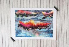 Salmon Run 5x7 Watercolor Mini Print Salmon Spawning Fish