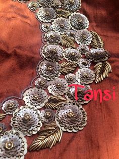For details Mail us at tansicouture@gmail.com Zardozi Embroidery, Hand Embroidery Dress, Kurti Embroidery Design, Embroidery Neck Designs, Bead Embroidery Patterns, Couture Embroidery, Embroidery Works, Embroidery Fashion, Beaded Embroidery