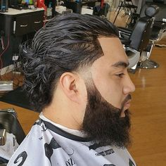 20 Trendy Slicked Back Hair Styles - Fashionable Fella - Beauty Low Fade Long Hair, Long Slicked Back Hair, Long Curly Hair Men, Undercut Long Hair, Slick Back Haircut, Temp Fade Haircut, Mens Hairstyles Fade, Slick Hairstyles, Medium Hair Cuts