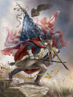 16 x 12 stretched canvas print of President George Washington standing on a rock in uniform wearing a tricorn hat carrying an American flag over his shoulder as an eagle soars above him by artist Tom duBois We only have one of these. American Freedom, American Spirit, American Flag, American History, American Pride, American Soldiers, British History, Patriotic Pictures, Horror Films