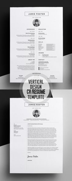 Professional CV / Resume Templates and Cover Letter Beautiful Vertical Design CV/Resume TemplateBeautiful Vertical Design CV/Resume Template Cover Letter Design, Cover Letter For Resume, Cover Letters, Creative Cover Letter, Cv Resume Template, Creative Resume Templates, Creative Resume Design, Design Resume, Foto Cv
