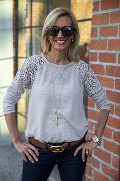 80c1fe48979585 Taupe Long Sleeve Knit Top With Lace Details is a beautiful top that you  can wear to work or under a jacket for any occasion and it is available in our  shop