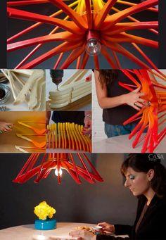 Make a unique light out of wooden hangers.