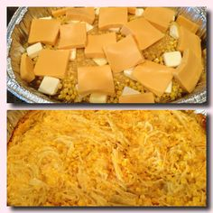 """Corn casserole! (easy and a crowd pleaser!) Can of creamed corn, Can of corn (don't drain), 1/2 stick of butter (cut in pieces), 8 oz Velveeta (cubed), 1 cup spaghetti noodles (broken in small pieces about 2"""" long). Spray a pan with Pam and add all ingredients, making sure that the spaghetti is covered. Bake at 350 for one hour (stirring after 20 minutes). The boys LOVE this! Easy to make multiple batches - the picture is a triple batch!!!"""