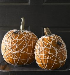Spiderweb pumpkins....the boys will have fun with these.