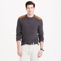 XL J. CREW Cotton Crewneck Sportsman Sweater Suede Shoulder Patches Carbon Grey #shoulder #patches #carbon #grey #suede #sweater #cotton #crewneck #sportsman #crew