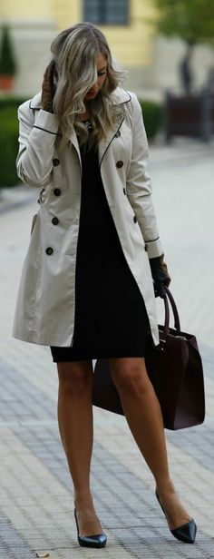 e7cd11527362a Daily New Fashion   Trench coat and simple black dress - fall   winter
