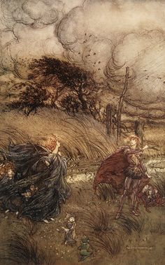 Call'd Robin Goodfellow, are not you he that frights the maidens of the villager.. A Midsummer-Night's dream illus. Arthur Rackham
