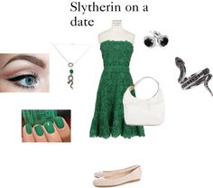 """Slytherin on a date"" by ingrid-becker on Polyvore"