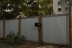 corrugated metal panels wood frame Front Yard Fence, Pool Fence, Backyard Fences, Garden Fencing, Fenced In Yard, Corrugated Metal Fence, Metal Fence Panels, Metal Fences, Iron Fences