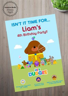 AUD 15 | Hey Duggee invitation, Hey Duggee blackboard invitation, Hey Duggee Party, Hey Duggee Photo Invitation, Hey Duggee Birthday, Toddler Party  Email now- inventivebirdie@gmail.com Photo Invitations, Digital Invitations, Birthday Invitations, 4th Birthday Parties, 3rd Birthday, Thank You Gifts, Arya, Party Printables, Inventions