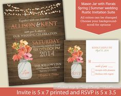 Rustic Mason Jar Country Wedding Invitations with dangling lights  - Spring Summer Fall Wedding - Choose flower colors and Background
