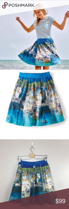 """BODEN  St. Ives Skirt Rare HTH Boden Size US 4R UK 8R St. Ives Skirt Rare HTF  approx.  waist across 13 1/3"""" skirt is elastic in the back length 20.5""""  excellent condition Boden Skirts"""