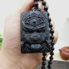 Black Pendant Obsidian Hand-Carved Tiger Necklace