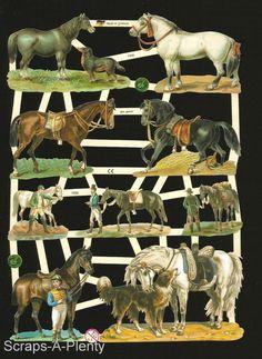 German Victorian Style  Embossed Scrap Die Cut -  Horses & Jockies       EF7335
