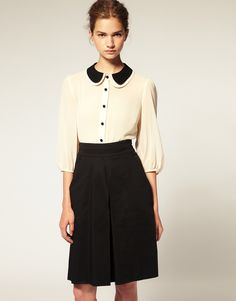 double peter pan collar blouse