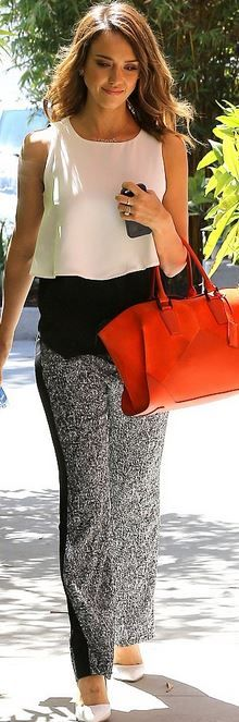 Who made  Jessica Alba's orange suede handbag, gray print pants, and white pumps that she wore in Santa Monica?