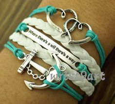 Heart To Heart  anchor braceletwhere there's a will by wrist9art, $5.99