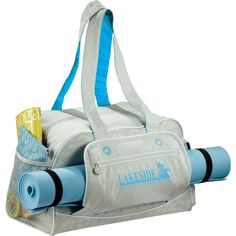 This awesome gym bag includes a large zippered compartment for your work out clothes and mesh pockets for water bottles, snacks etc. Includes an expandable yoga mat sleeve and zippered accessory pouch. Workout Accessories, Yoga Accessories, Fitness Accessories, Pilates, Yoga Bag, Printed Bags, Custom Bags, Sports Logo, Bag Making