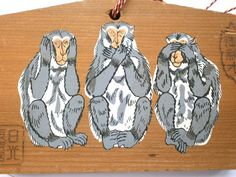 Japanese Shrine Wood Plaque Three Wise Monkeys by VintageFromJapan, $12.00