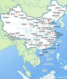 China map with major cities