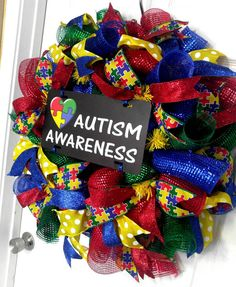 Check out this item in my Etsy shop https://www.etsy.com/listing/472123304/autism-awareness-wreath-autism-mesh