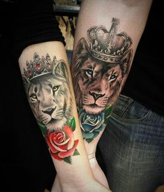 Matching tattoos are common especially with couples and act a way of showing their love. Persons sporting matching tattoos come closer to one another like never before. Below, we are going to mention matching lion tattoo designs and ideas. Trendy Tattoos, New Tattoos, Body Art Tattoos, Sister Tattoos, Wrist Tattoos, Tattos, Arabic Tattoos, Tattoo Drawings, Lion And Lioness Tattoo