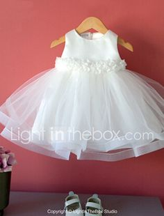 Ball Gown Tea-length Flower Girl Dress - Cotton / Tulle / Polyester Sleeveless Jewel with 2017 - $19.99