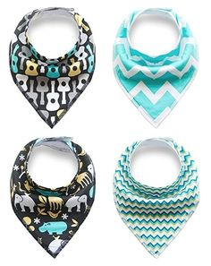 Unisex Baby Bandana Drool Bib Set (4 packs) 100% Extra Absorbent Adjustable Design, Animal Guitar and ZigZag Prints, Fashion and Unique Baby Shower Gift Set for Boys and Girls