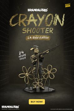 """Ready, aim, fire 🖍 Your 24 hours starts now 🖍 Add Crayon Shooter by Brandalised (LA Gold Edition) to your collection before it's gone forever. 10"""" Polystone Collectible // Detachable Base // $350 With Free Shipping // Exclusive Golden Ammo Crayon Pack With Every Purchase #mightyjaxx #limitededition #arttoys #crayonshooter #brandalised #collectibles #designertoy Designer Toys, Base, Free Shipping, Gold, Collection"""
