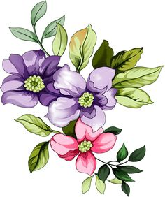 Bunch Of Flowers, Small Flowers, Fabric Colour Painting, Flower Art Images, Stock Flower, Fabric Paint Designs, Leaf Wall Art, Hand Embroidery Designs, Watercolor Paintings