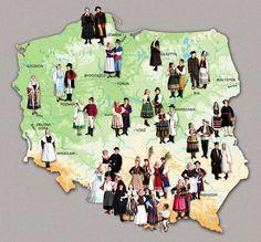 """Illustration from """"Polskie stroje ludowe"""" / """"Polish National Costumes"""", photo: Wydawnictwo Muza Culture. Poland Costume, Folk Costume, Costumes, Harmony Day, Reflective Journal, Polish People, Polish Folk Art, Folk Clothing, Family Roots"""