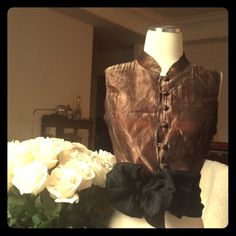 Dark Chocolate Silk Crinkled Organza top + Bow 100% silk, organza, with beautiful dartings and detailings , Mao neck line and button loops, fully lined... awesome under a leather jacket or a blazer, Brand new ... and wide Black Silk Organza Scarf can be worn as a sash, belt ... Makes amazing constructed bows ... Holidays are Here!  Anthropologie Tops
