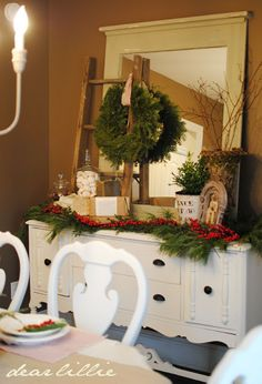 hang wreath on a ladder- for the porch